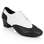 318 Adolfo White Leather Black Perforated Leather