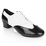318 Adolfo White Leather Black Perforated Patent