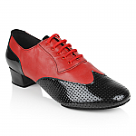 318 Adolfo Red Leather Black Perforated Patent